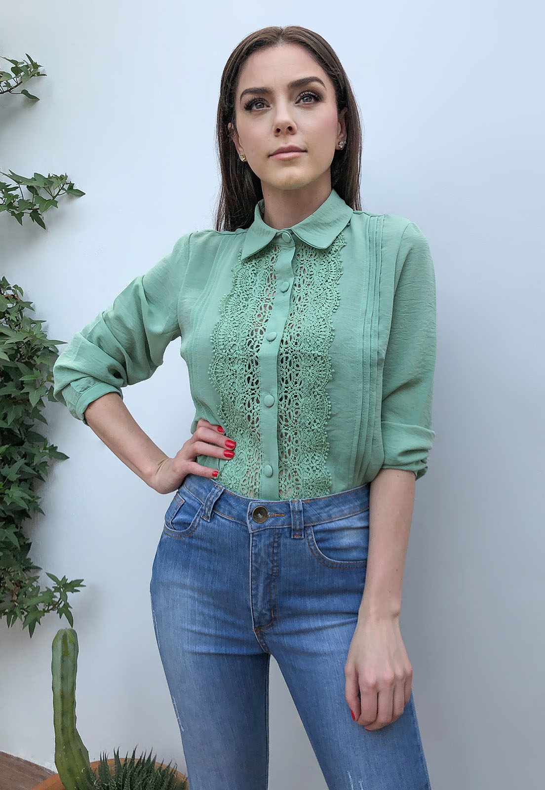 Camisa Crepe Guipir Verde Menta