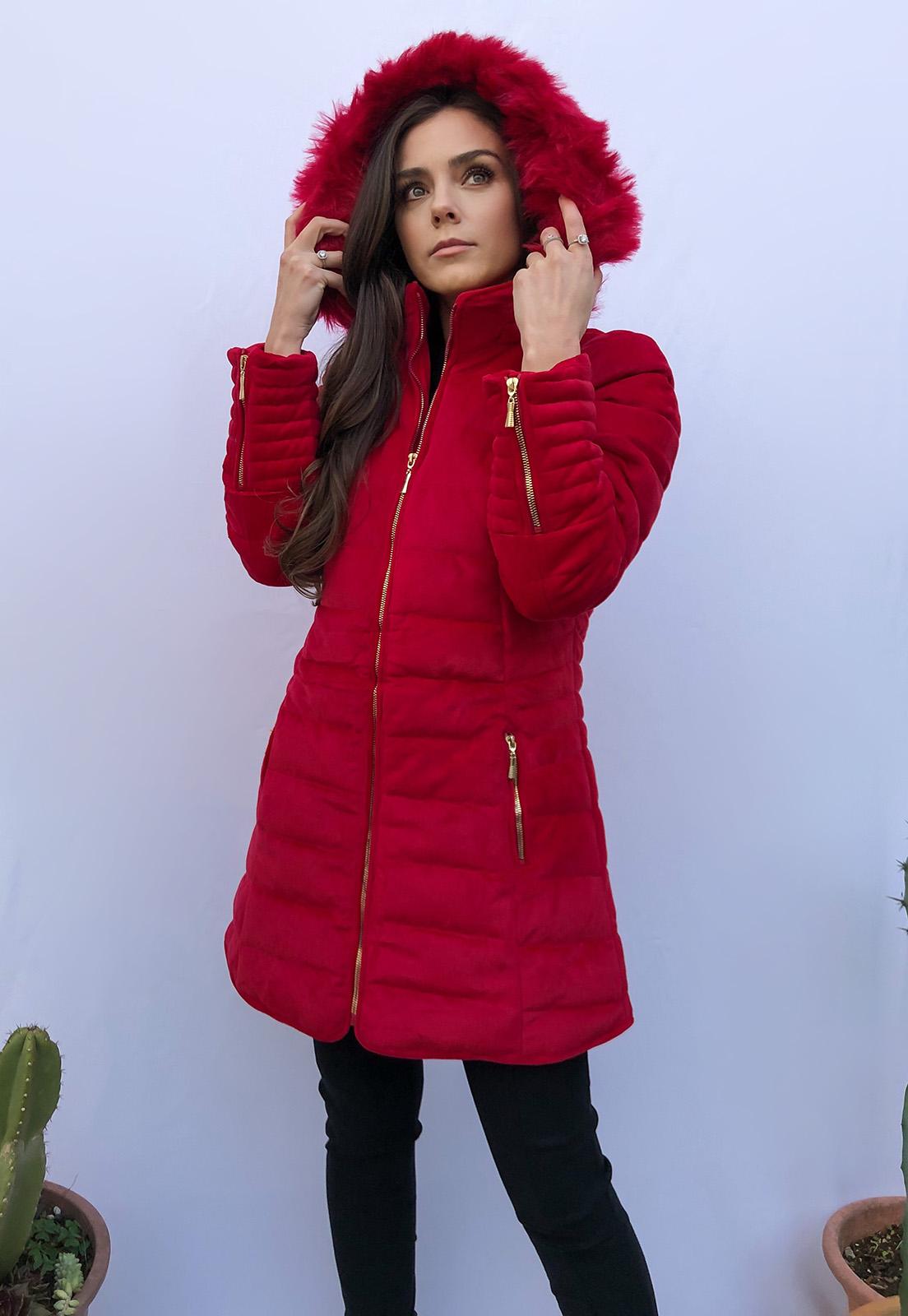 Casaco Alongado Luxo Aveludado Liso Térmico Vermelho