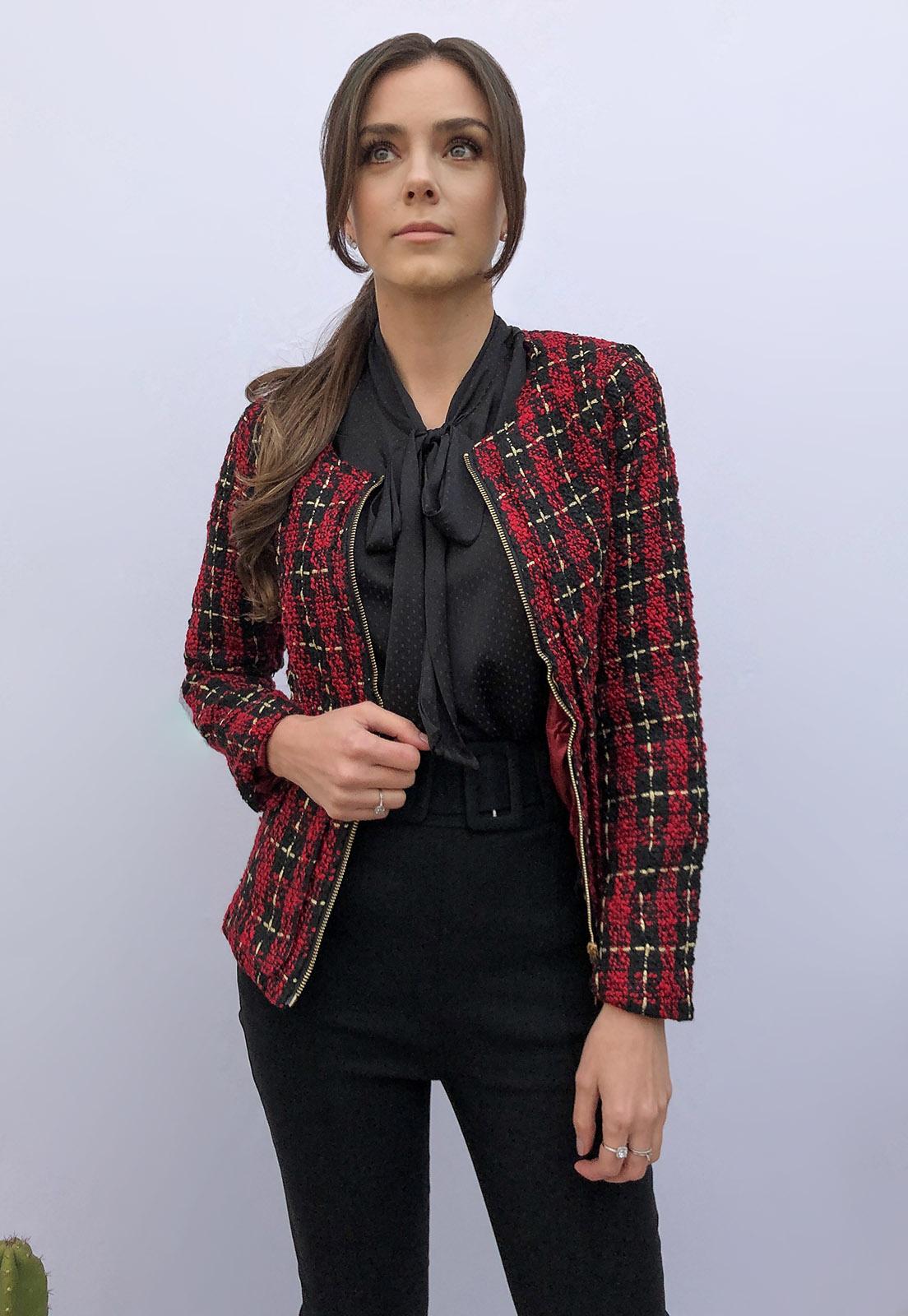 Casaqueto Tweed Xadrez Preto e Vermelho