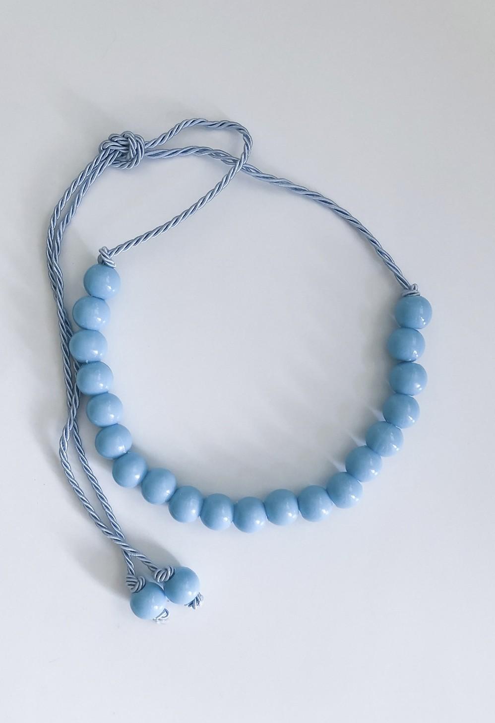 Cinto LUXO Corda e Bolas Esferas Azul Claro