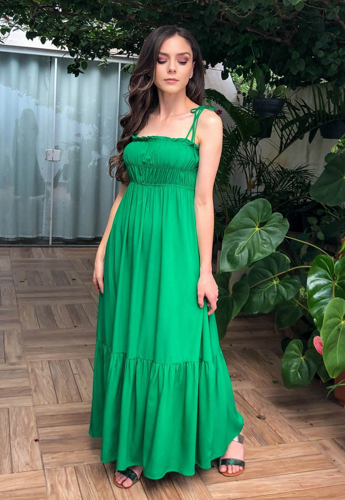 Vestido Belle Midi Alongado Solto Verde Esmeralda