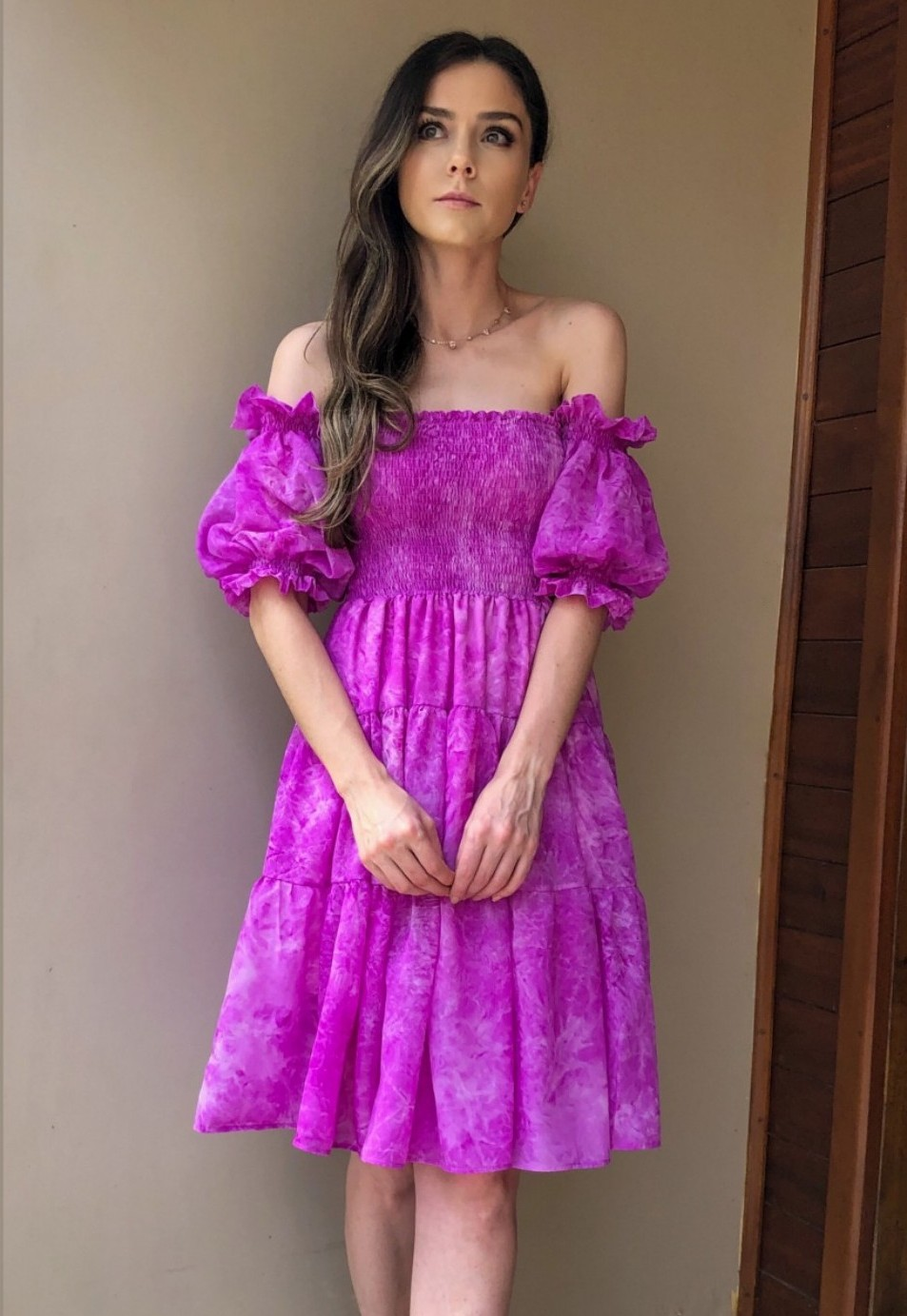 Vestido Ciganinha Curto Tie Dye Roxo