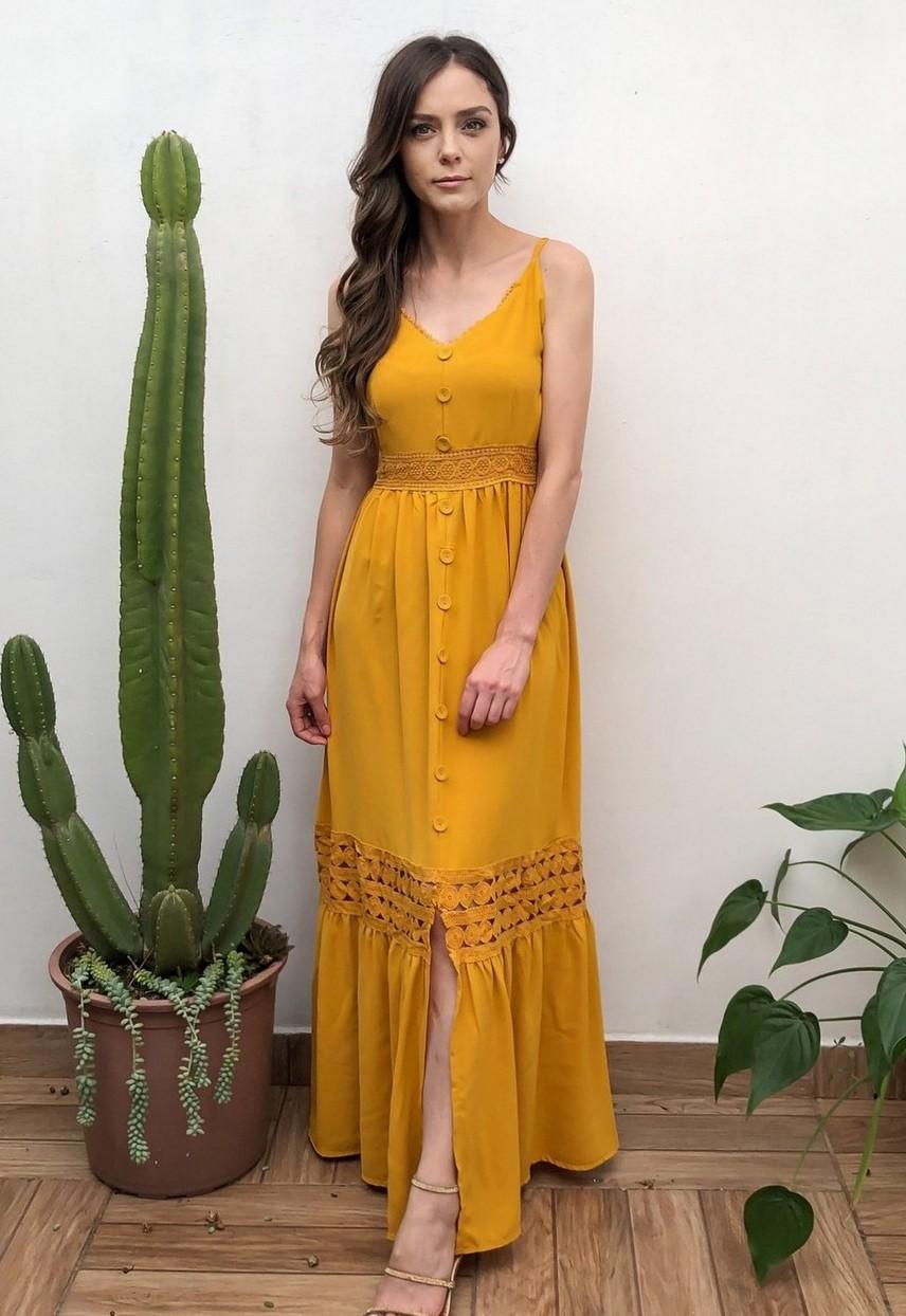 Vestido Longo Alças Rodado Amarelo Açafrão