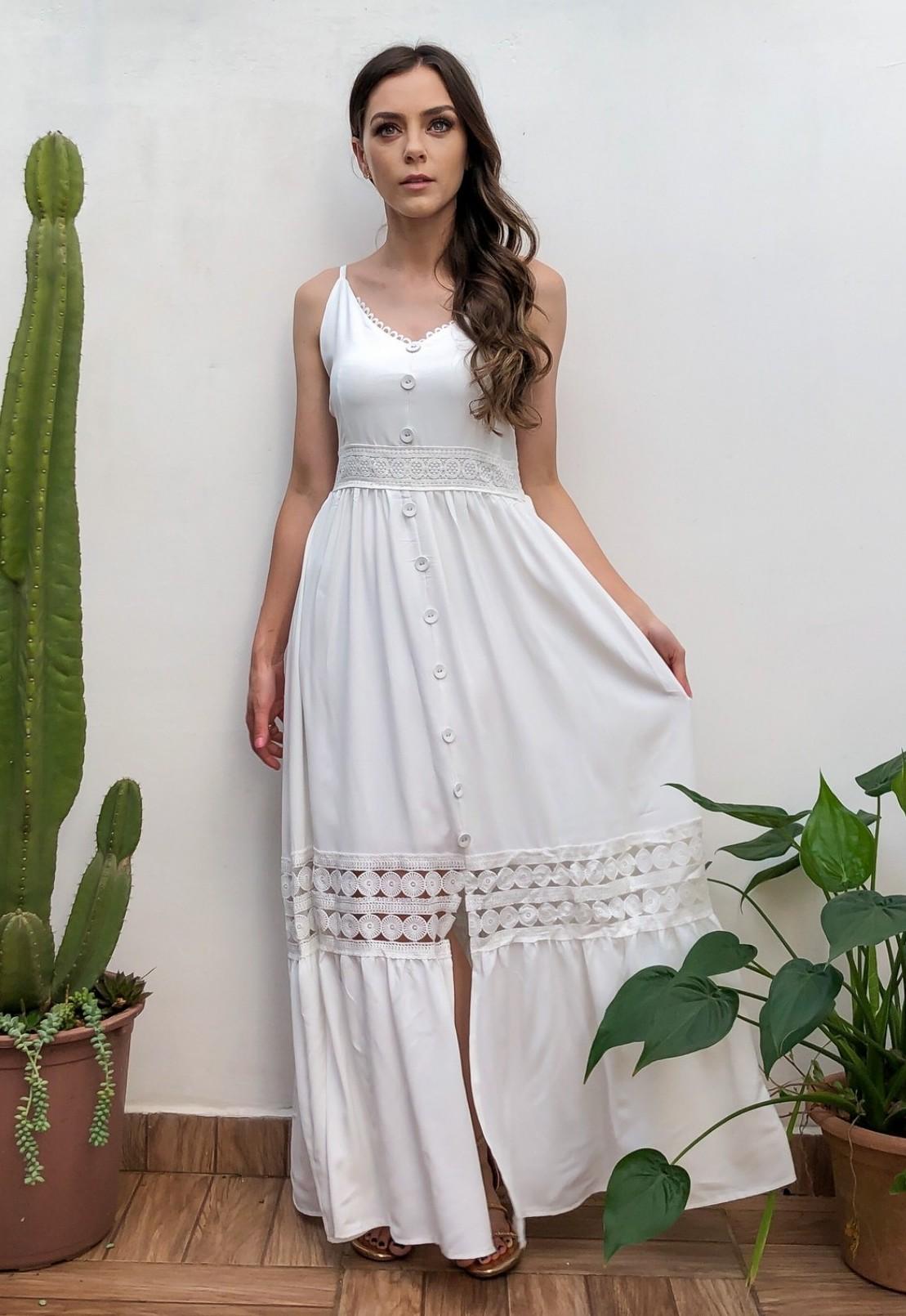 Vestido Longo Alças Rodado Branco/Off White