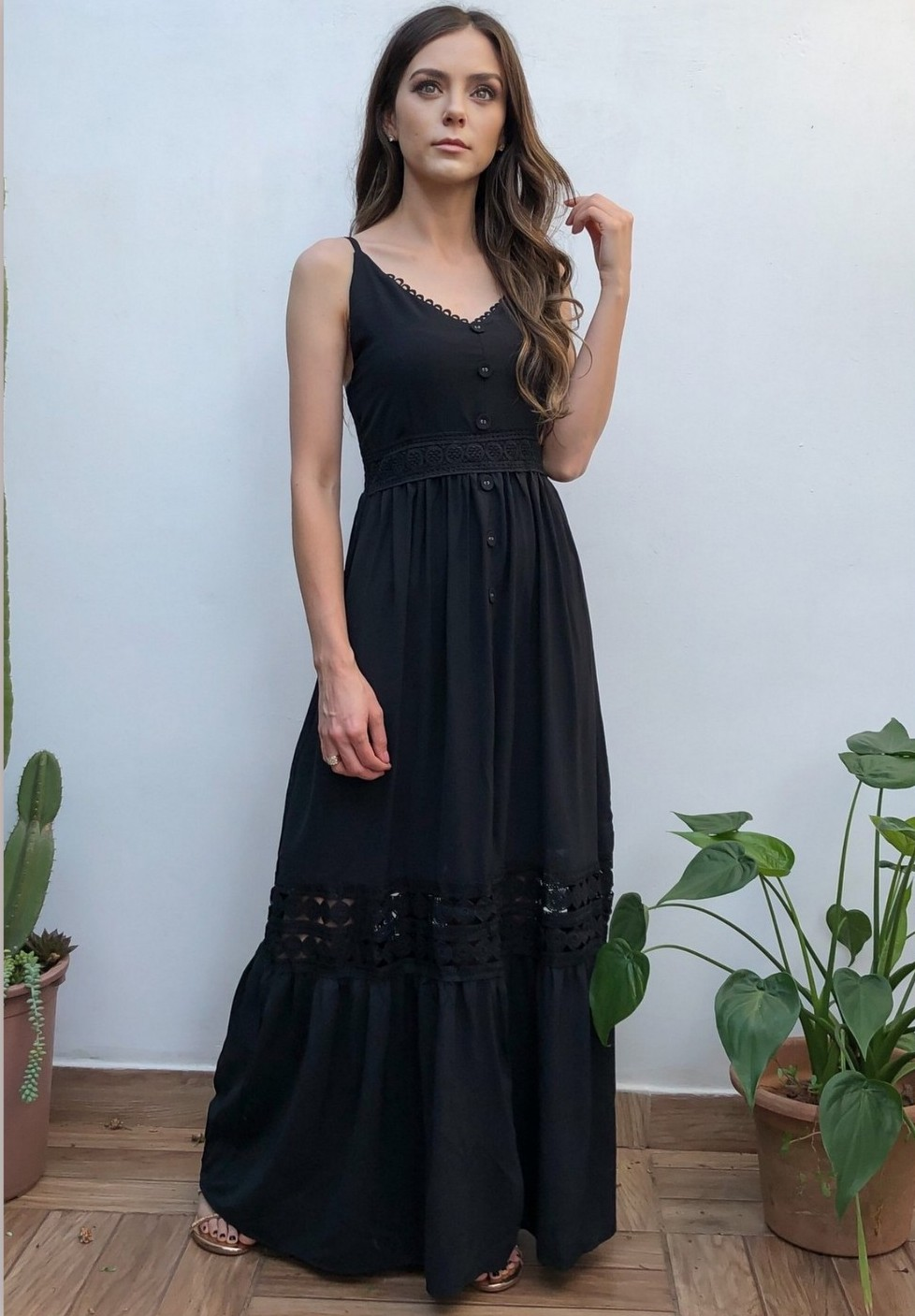 Vestido Longo Alças Rodado Preto