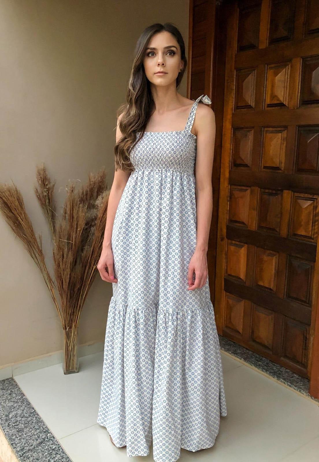 Vestido Longo Amplo Lastex Tricoline