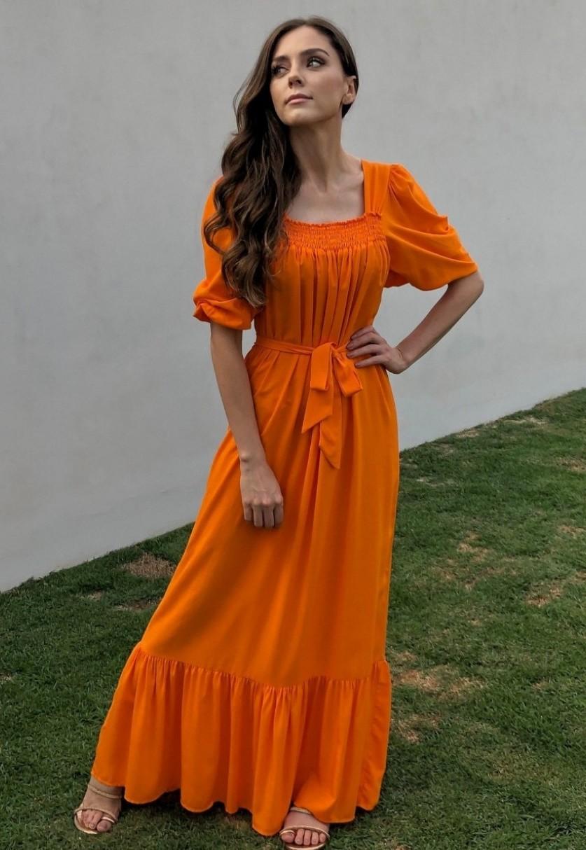 Vestido Longo Bufante Amelie Laranja Claro
