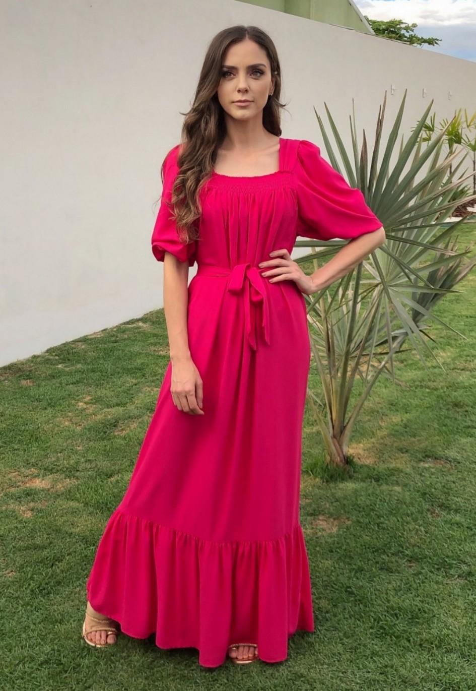 Vestido Longo Bufante Amelie Pink