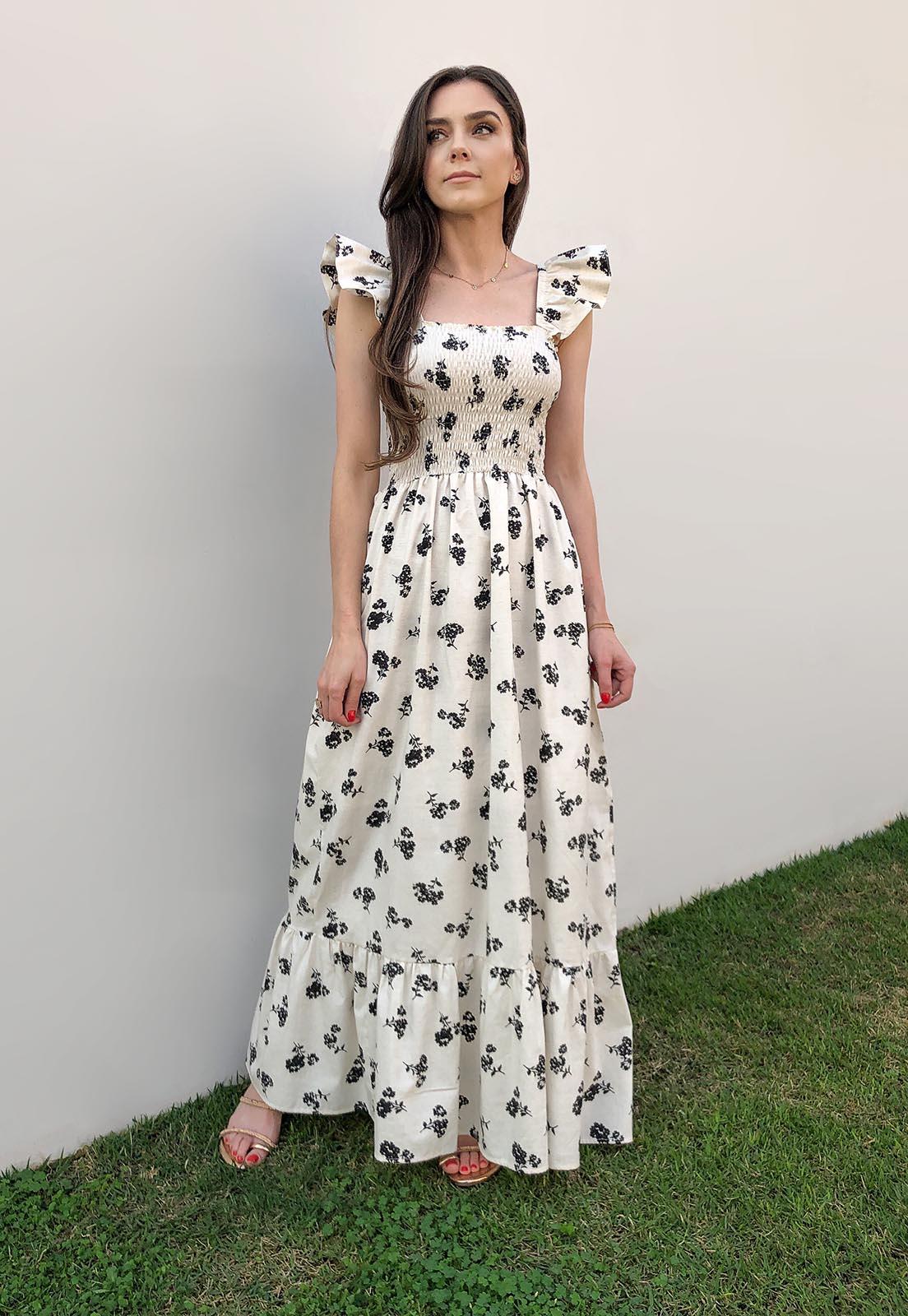 Vestido Longo Flores Pretas  Lastex Tricoline Aline