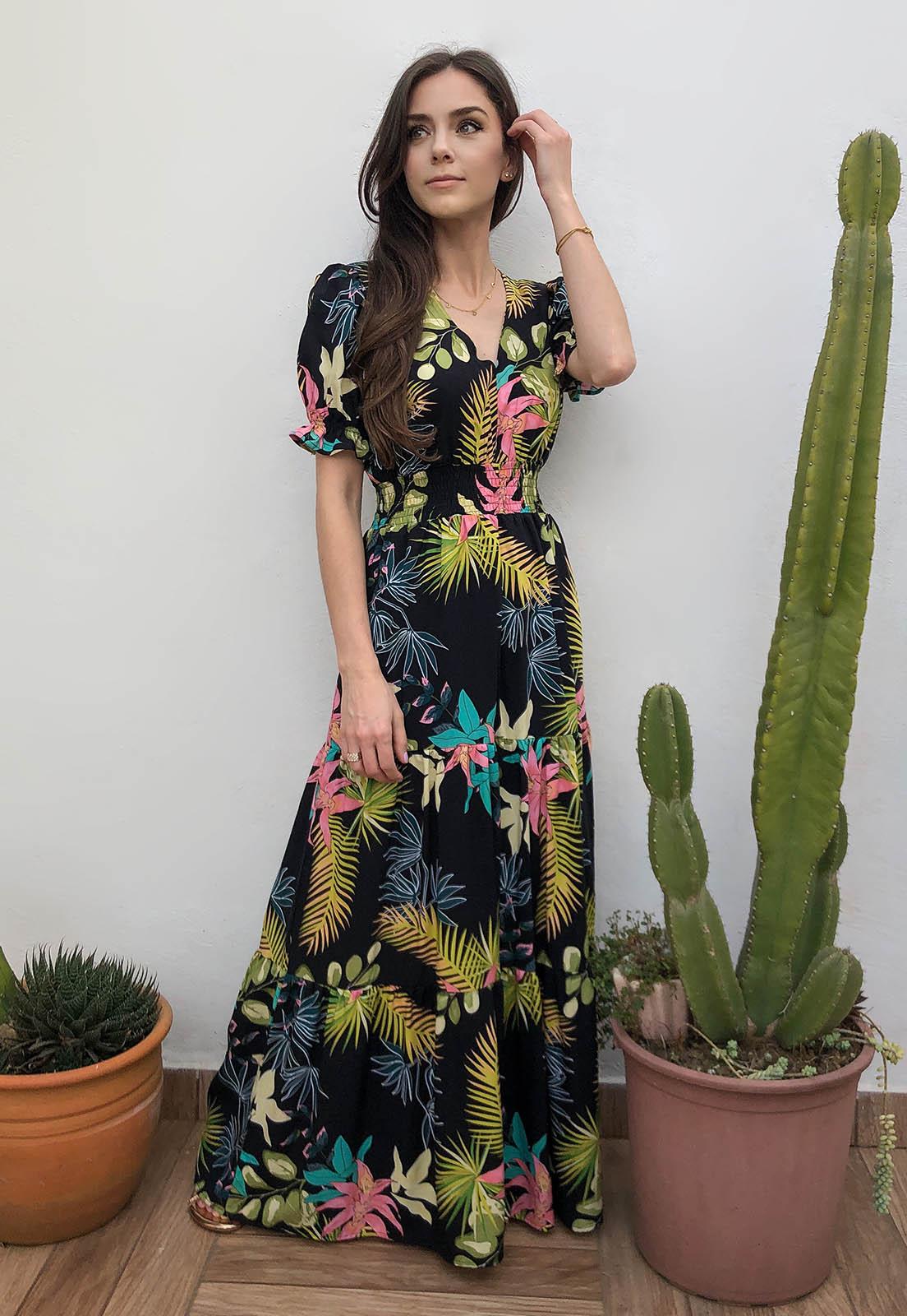Vestido Longo  Mangas Fofas Preto Tropical