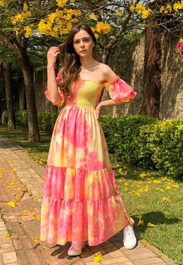 Vestido Longo Tie Dye Lastex  Rosa e Amarelo
