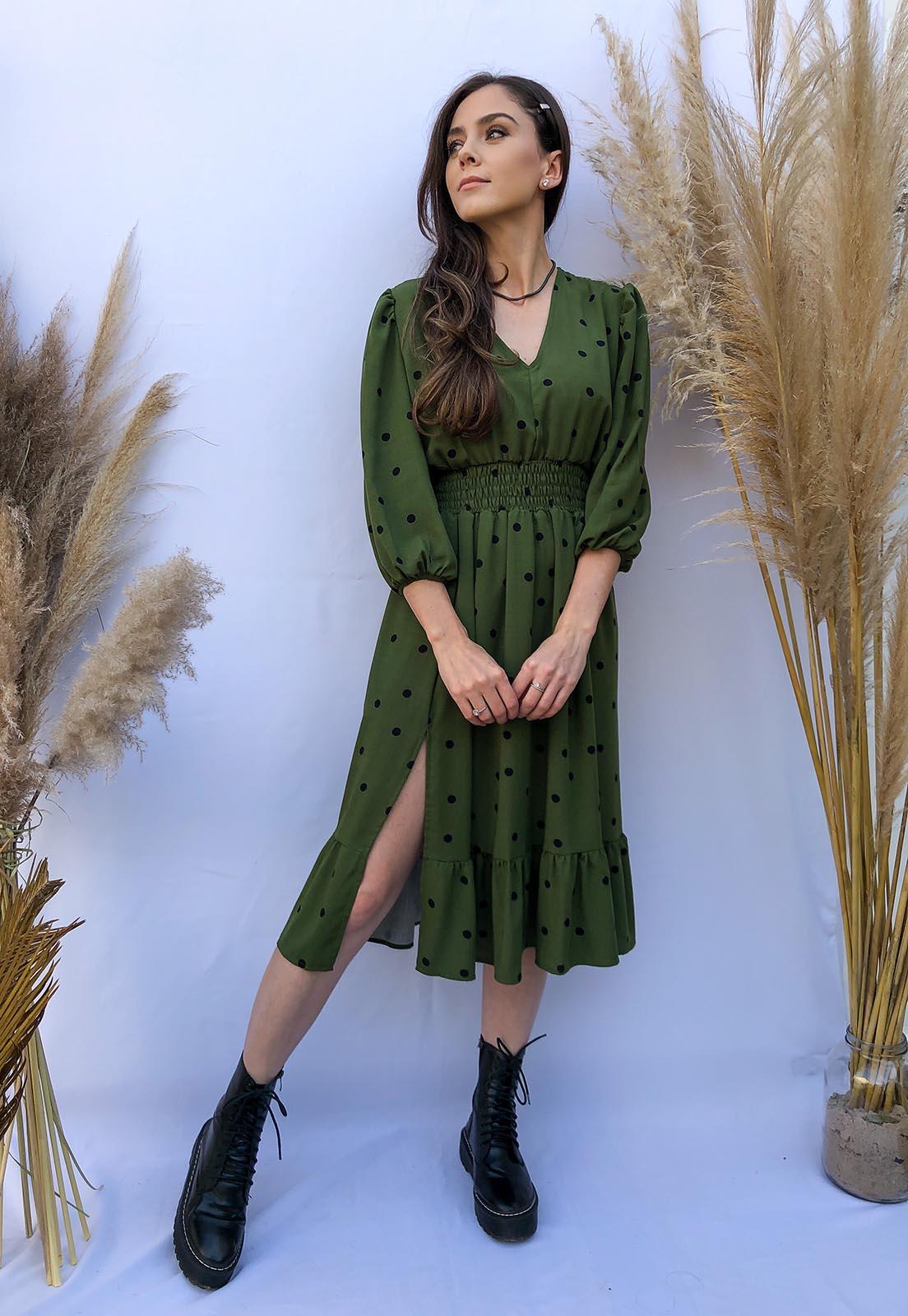 Vestido Midi fenda Poás Verde Oliva