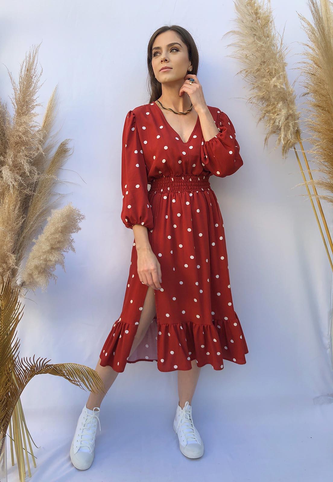Vestido Midi fenda Poás Vermelho Terracota