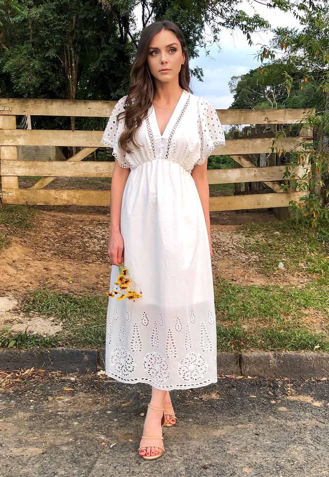 Vestido Midi Laise Off White Mia