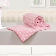 Cobertor Bebê Microfibra Poá Rosa