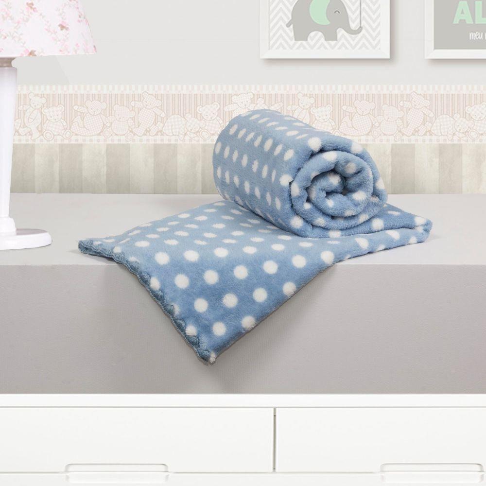 Cobertor Bebê Microfibra Poá Azul