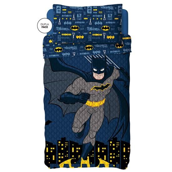 Colcha Dupla Face Solteiro Estampada Bouti Batman 1,60 m x 2,20 m