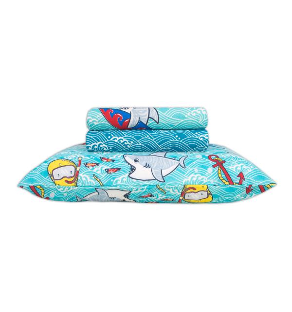 Jogo de Cama Infantil 3 Peças Happy Day Shark