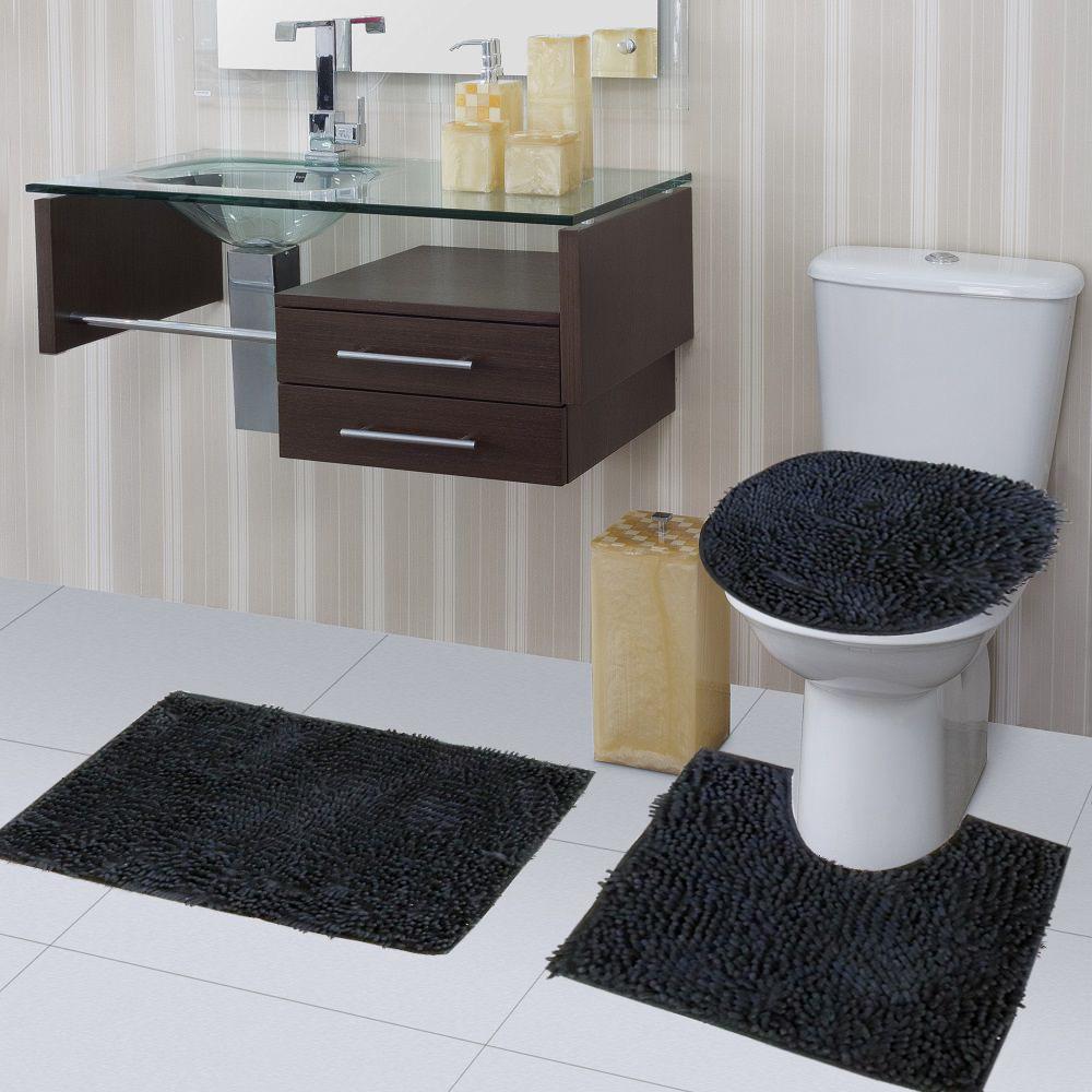 Kit Tapete Banheiro Macarrão 3 Peças Antiderrapante