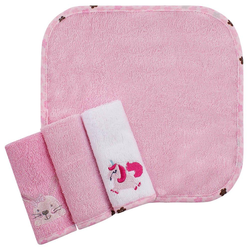 Kit toalhas de boca 4 peças Rosa