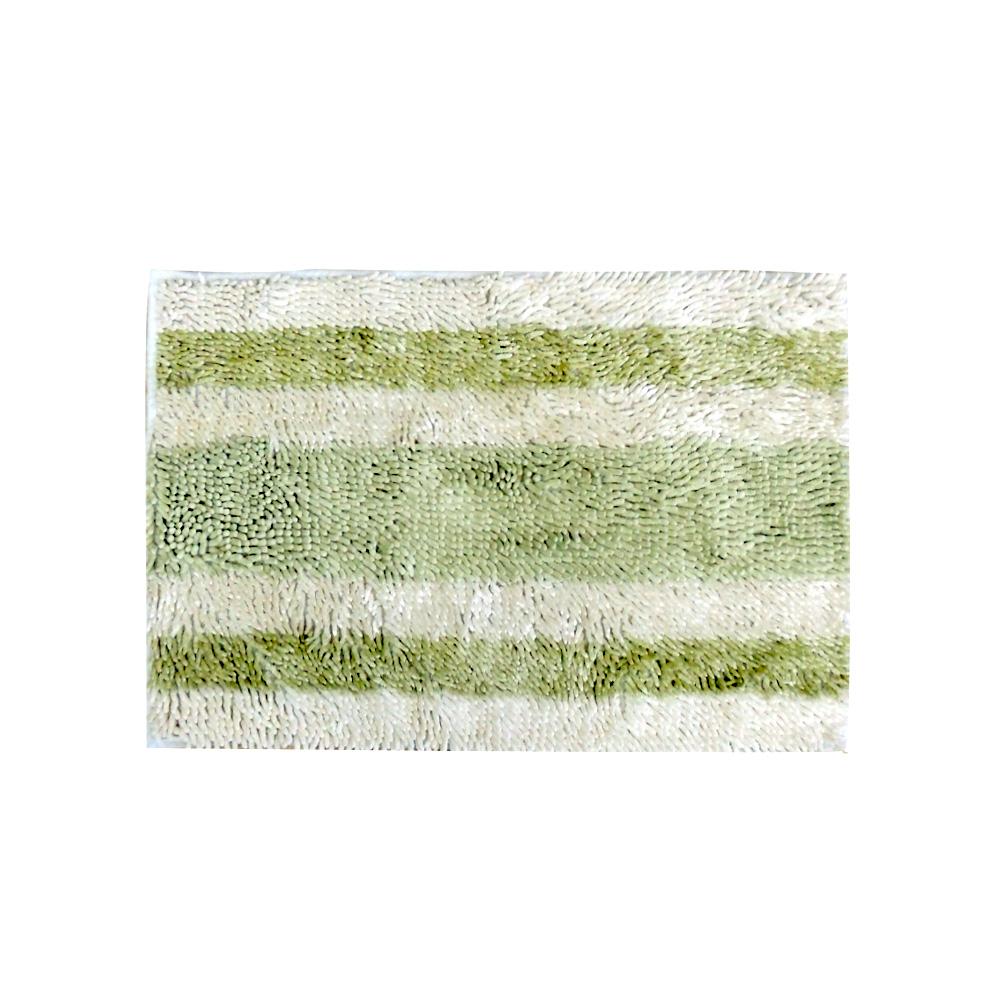 Tapete Macarrão Antiderrapante 50X80 cm Verde/Branco