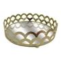 Bandeja Decorativas De Metal Com Espelho Belga Ouro Redonda