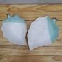 Bowl e Mini Prato Folha Verde Em Porcelana