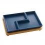 Conjunto 2 Petisqueiras Porcelana Com Bandeja Bambu Azul