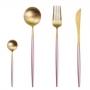 Conjunto De Talheres Luxo - 4 Peças Rose Gold / Dourado