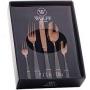 Faqueiro de Aço Inox com Gift Box Pisa Two Tones Rose Gold e Preto - Wolff