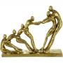 Figura Decorativa Resina Dourada 34X8X20