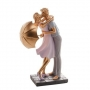 Figura Decorativa Royal Resina Casal Dourado 17x10x26cm