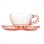 Jogo 4 Xícaras de Chá Cristal Com Pires de Coração Pearl Rosa 180ml