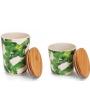 Jogo  De 2 Potes Melamina E Tampa Em Bambu Amazônia Jolitex