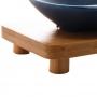 Kit 3 Petisqueira Porcelana Bon Gourmet Base Bambu Azul Matt