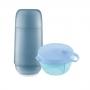 Kit Garrafa Térmica Azul Com Pote Presente Chá Bebê Mamãe