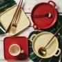 Mini Travessa Porcelana Bon Gourmet Nórdica Vermelho 20x16cm
