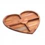 Petisqueira De Madeira 4 Divisórias Teca Coração