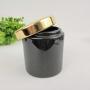 Potiche Preto Dourado Pote 10X8Cm Banheiro Para Decoração