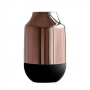 Vaso Moderno De Vidro - Cobre E Preto Grande 30Cm