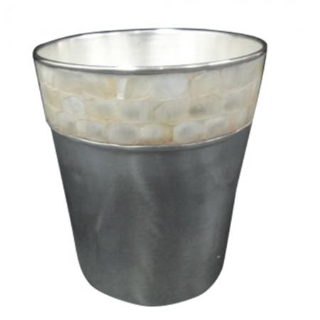 Balde para gelo em metal e mármore 1,2l 13x14cm BTC