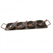 Bandeja 4 pratinhos antepasto ferro cobre preto 31x13cm BTC