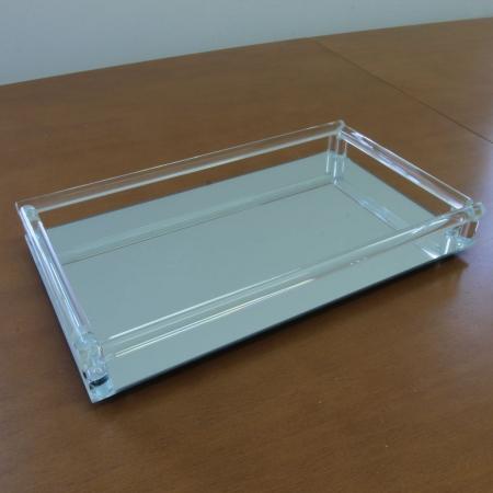 Bandeja espelhada prata 33x20x4,5cm BTC