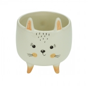 Cachepot cerâmica Charmy Feet Rabbit branco 11,5x13cm Urban