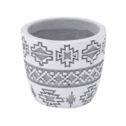Cachepot concreto Square American Tribal Native cinza/branco 8,5x7,5cm Urban