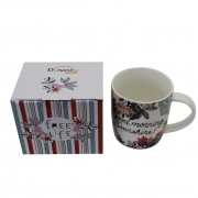 Caneca Free Life Good Morning em porcelana 340 ml Dynasty