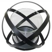 Castiçal de vidro com base em metal preto 18x15,5cm BTC