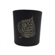 Castiçal vidro preto folha 8x7,5 Santa Cecília