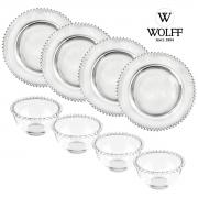 Cj 4 Pratos Sobremesa 20cm+4 Bowls 300ml Cristal Pearl Wolff