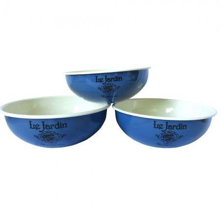 Cjto 3 potes Le Jardin metal esmaltado azul  28 26 24 cm BTC